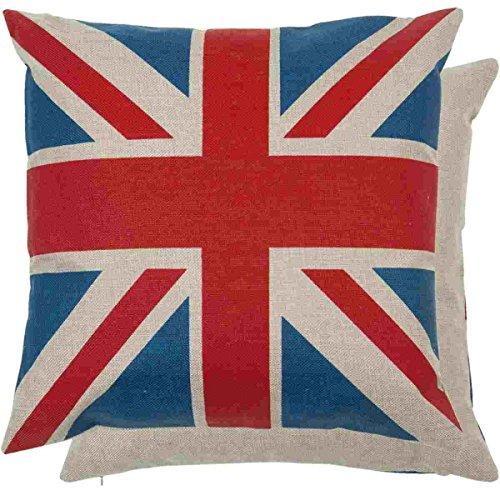 Regalitostv Bandera Inglaterra Funda COJÍN 45 X 45 CM con Cremallera, DESENFUNDABLE, UNA Cara Lisa, POLIÉSTER ALGODÓN (Union Flag)