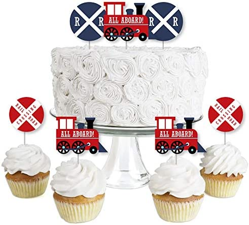 Railroad Party Crossing Dessert Cupcake Toppers Steam Train Birthday Party or Baby Shower Clear product image
