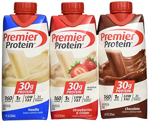 Lot of 12 Premier Protein 30g High Protein Shakes 11 Oz. Variety Pack Contains Chocolate, Vanilla & Strawberries & Cream