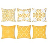 Elloevn Yugarlibi 6er Set Kissenbezüge Gelbe Geomestrisch Mandala Mustern Kissenhülle Sofakissen Sitzkissen, Moderne Zierkissenbezüge für Zuhause Wohnzimmer Schlafzimmer 45 x 45 cm