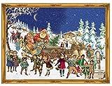 Nostalgischer Adventskalender / Weihnachtskalender für Kinder und Erwachsene mit Glitzer 'Nikolaus im Schnee'