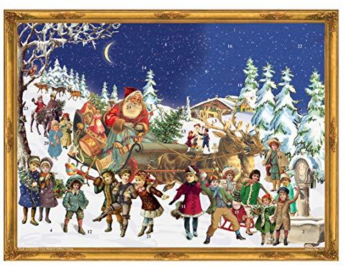 Nostalgischer Adventskalender / Weihnachtskalender für Kinder und Erwachsene mit Glitzer