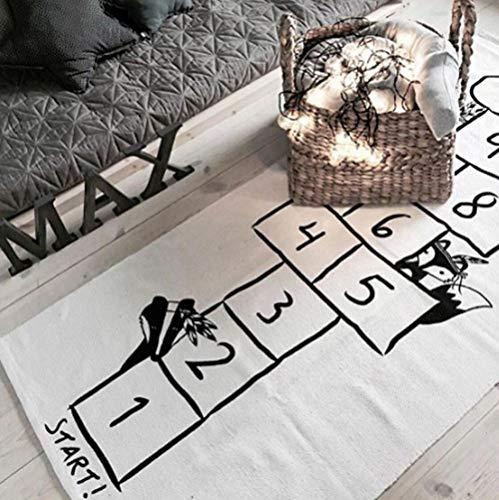 Enkoo Superb Kinder- / Kinderteppich Hopscotch Weiß Spielmatte Ungiftig Rutschfest Reversible Waschbar, Zahlen Spiel Große Super Baby Kids Baumwollteppiche Kinderzimmer Tiermuster Teppiche Matten (72
