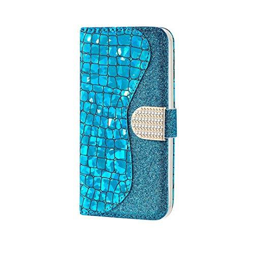 Ttimao Compatible con Funda Samsung Galaxy J5 2017 Prima Glitter PU Cuero Wallet Caso Cierre Magnético Ranura para Tarjetas Kickstand Antigolpes Flip Cubierta-Azul