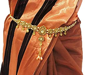 Valusha Brass White Fashion Hip Belt with Stone for Women