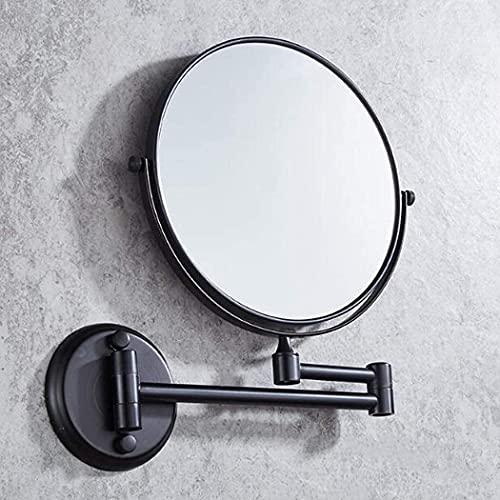 LYQQQQ Baño Espejo de Maquillaje 3X / 1x Ampliación de Cobre de Afeitar Espejo montado en la Pared Extensible Espejo Redondo de Doble Cara de Aumento de la vanidad 360 ° Giratorio for el hogar, Negro