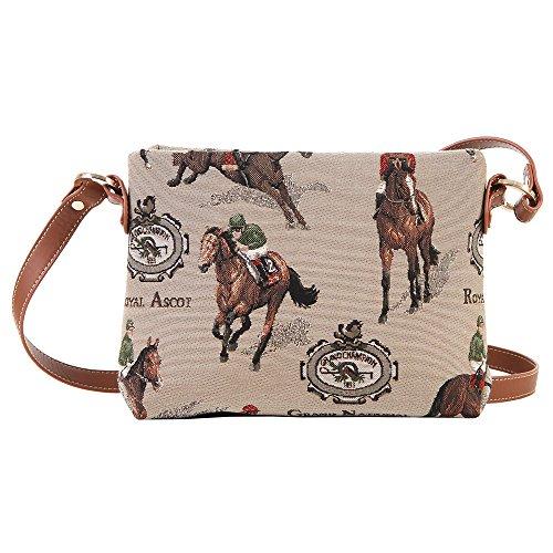 Signare Borsetta donna moda in tessuto stile arazzo a spalla borsa messenger a tracolla animale (Corsa)