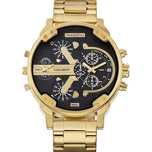 DAZHE Militäruhren CAGARNY Quarzuhren, Uhren for Männer Militäruhr 6820 Goldene Dual Time Zone Edelstahl-Uhr-Japanischer Bewegungs-Quarz-Uhren (Farbe : Black)
