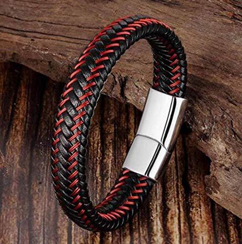 N-B Pulsera de Cuero Trenzada roja para Hombre Pulsera Negra con Cierre magnético Pulsera Trenzada