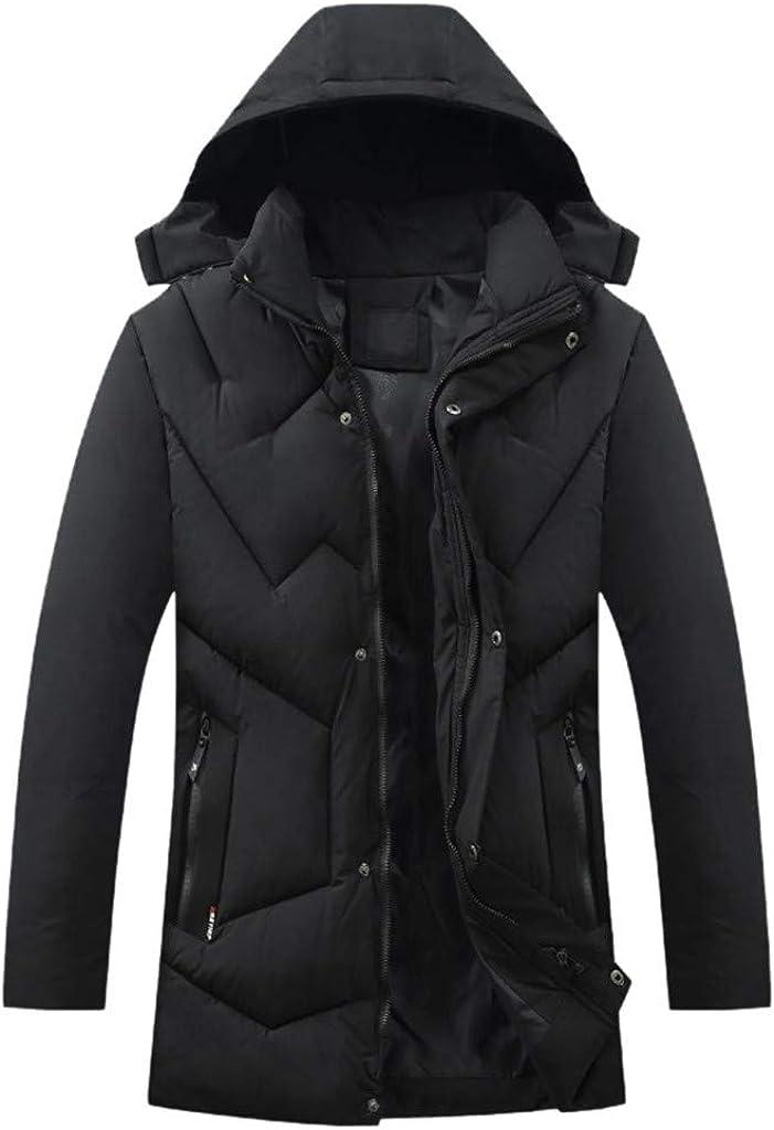Down Jacket Men, NRUTUP Hooded Water-Resistant Puffer Jacket, Zip Pocket Smart Down Alternative Winter Coat Overcoat