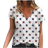 Janly Clearance Sale Camiseta para mujer, sexy con cuello en V, color 3D, con estampado en 3D, manga corta, estilo casual, blusa para vacaciones de verano