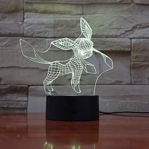 Pokemon Go Glaceon Figura Lámpara de mesilla de noche para niños Lámpara de noche LED Festival Regalo para niños Dormitorio Luz de noche Glaceon