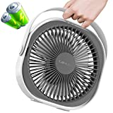 LaHuko 8-inch USB Desk Fan 4000mAh Ultra Silent Fast Air Circulating Rechargeable Fan 360° Adjustable 3 Modes Strong Wind Quiet Fan with Handle for Travel Office Bedroom Household (2021)
