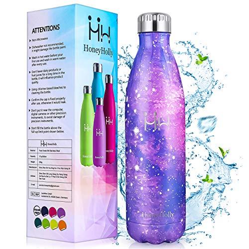 HoneyHolly Vakuum Isolierte Edelstahl Trinkflasche 750ml,BPA Frei Wasserflasche Auslaufsicher Thermosflasche,Thermoskanne kohlensäure geeignet für Kinder, Kleiner, Schule, Fahrrad