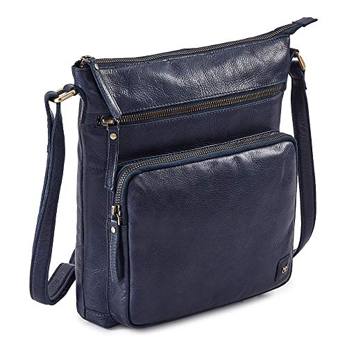 Wise Owl Genuine Leather Crossbody Handbags & Purses for Women -Premium Crossover Over the Shoulder Bag (Midnight Navy Multi-Wax)