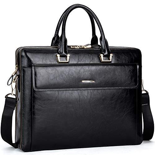 CLUCI Women Oil Wax Leather Briefcases Slim Large Business 15.6' Laptop Vintage Shoulder Bag for Men Black