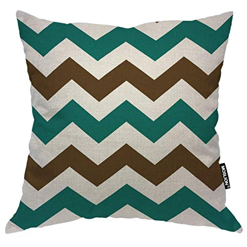 Cotton Square Decorative Throw Pillow Covers, Brown and Cyan Zigzag Chevron Pillow Cases Cushion Cover for Sofa Bedroom Livingroom Camping Car Pillow Sham,45x45CM