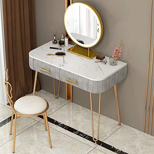 Schminktisch für mädchen Nordic Vanity Table, Make-up Schminktisch mit abnehmbarem beleuchteten Spiegel, Schlafzimmer Vanity Set 2 Schubladen gepolsterter Hocker, Frauen Mädchen Kinder