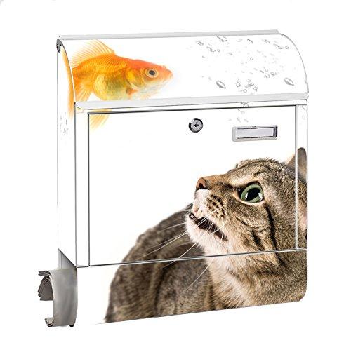 Design Motiv Briefkasten Maxi mit Zeitungsfach Zeitungsrolle für A4 Post slk shop Groß Katze Fisch