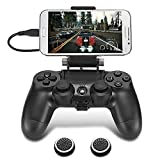 PS4 Controller Phone Clip, TAACOO Foldable Game Controller Mount Mobile Phone Holder Smartphone Clamp for Playstation 4 Dualshock 4 Wireless Controller (Black)