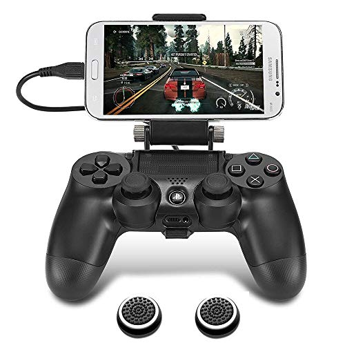 PS4 Controller Phone Clip, TAACOO Foldable Game Controller Clamp Mobile Phone Holder Smartphone Mount for Plastation 4 (Black)