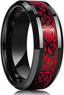 MEENAZ Stainless Steel Stylish dragon celtic proposal Couple band thumb Silver Platinum Black combo Finger Ring for Men Me...
