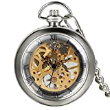 Reloj de Bolsillo Vintaje con Número Romano, Mecánico Steampunk, Esfera Esqueleto Viento de la Mano, Regalo San Valenín