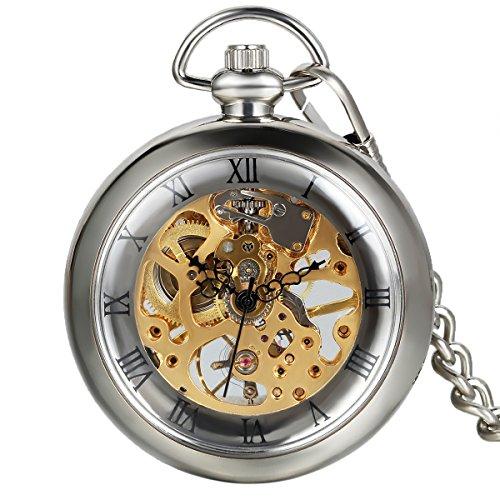 Avaner Vintage Taschenuhr für Herren Analog Handaufzugwerk Pocket Watch Durchsichtiges Ziffernblatt mit römischen Ziffern (Silber)