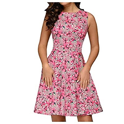 Excursion Clothing Women's Vintage Patchwork Round Neck Sleeveless Puffy Swing Casual High Waist Floral Party Dress
