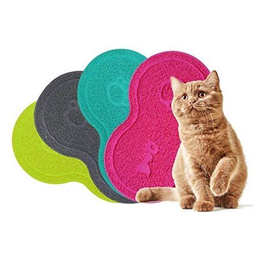 Hummla Almohadilla para Mascotas Perro Gato Alimentando Agua Bandeja de Comida Plato para Gatos Estera Mantel Limpiar Piso Limpio PVC, Gris, 8 Formas