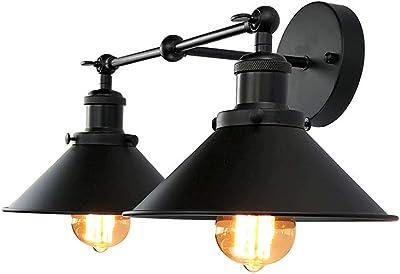 LMSOD Bathroom Vanity Light,2 Lights Vintage Industrial Black Wall Sconce Metal Lighting Fixture