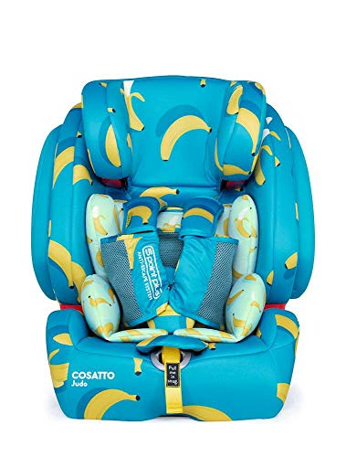 Cosatto Judo Child Car Seat | Group 1/2/3, 9-36 kg, 9 months-12 years, ISOFIX, Forward Facing, Removable Harness, Reclines (Go Bananas)