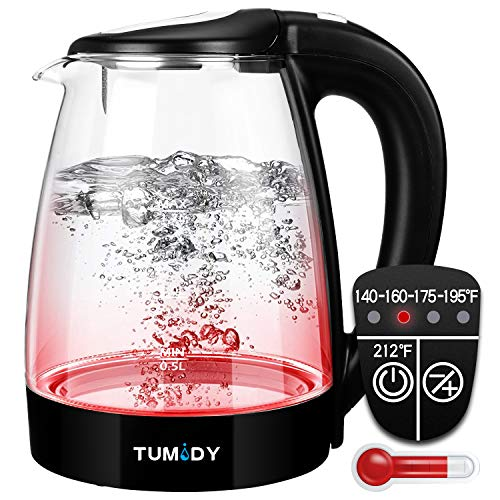 TUMIDY 1.7L Glass Electric Kettle - 1500W Variable Temperature Control Tea Pot keep Warm Function Boil-dry Protection Auto Shut-off Cordless Portable with Fast Quiet Boiling Wide Opening BPA Free