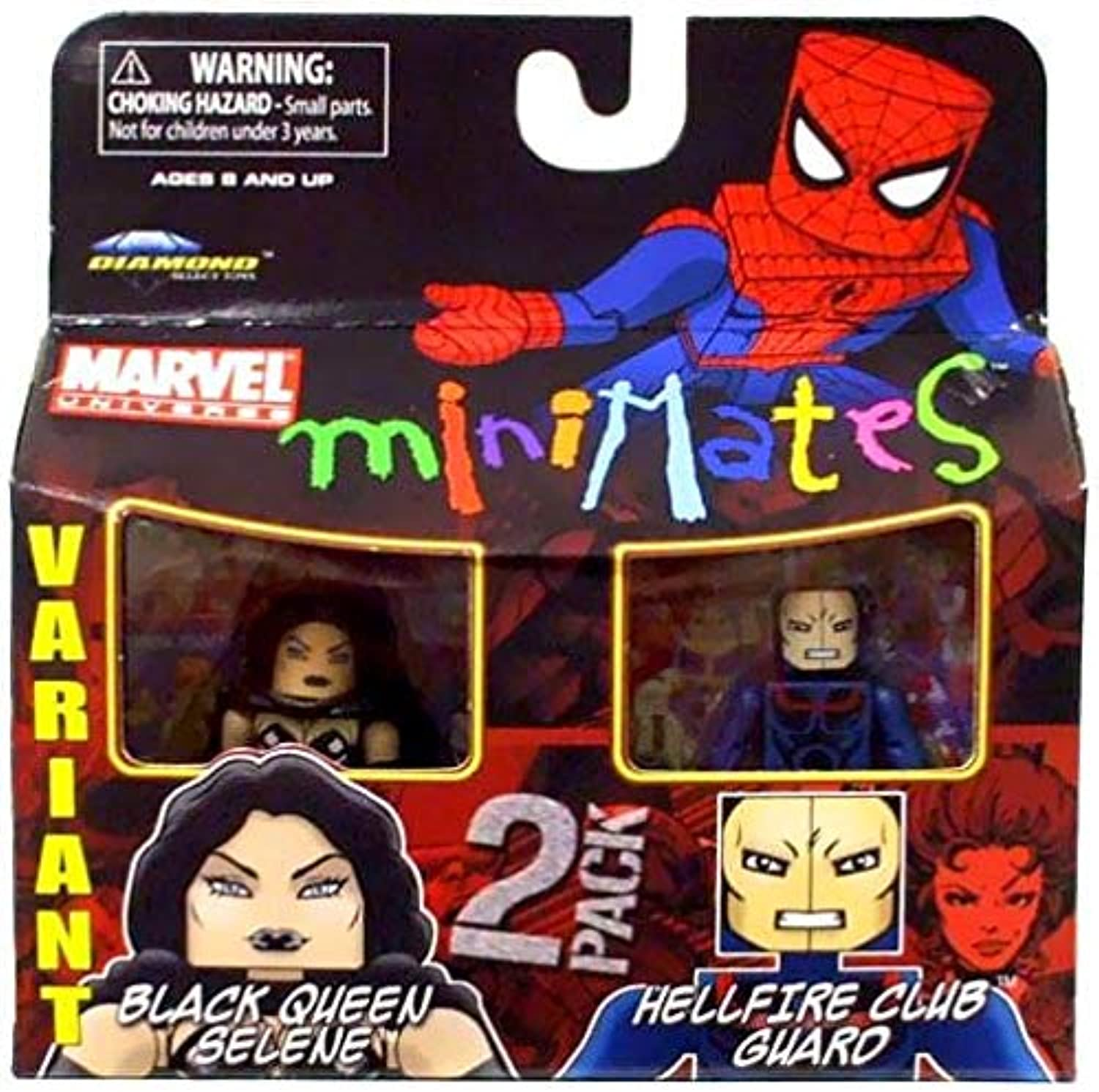 Diamond Select Marvel Minimates Series 34 Mini Figure 2Pack Black Queen Selene & Hellfire Club Guard Variant