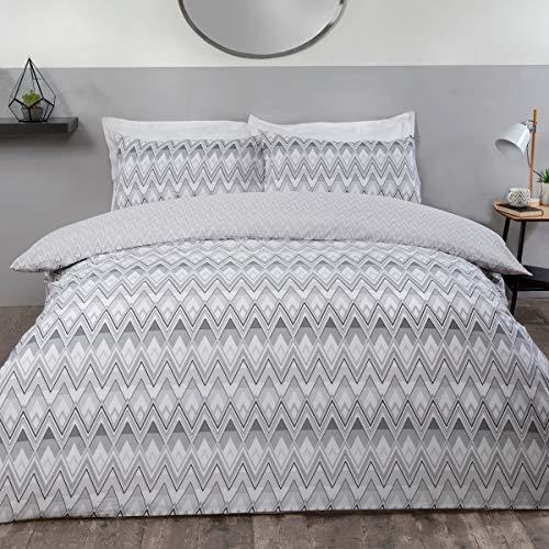 Sleepdown Juego edredón y Funda de Almohada para Cama Individual (135 x 200 cm), diseño geométrico Retro, Color Negro y Gris, Polialgodón, Suelto