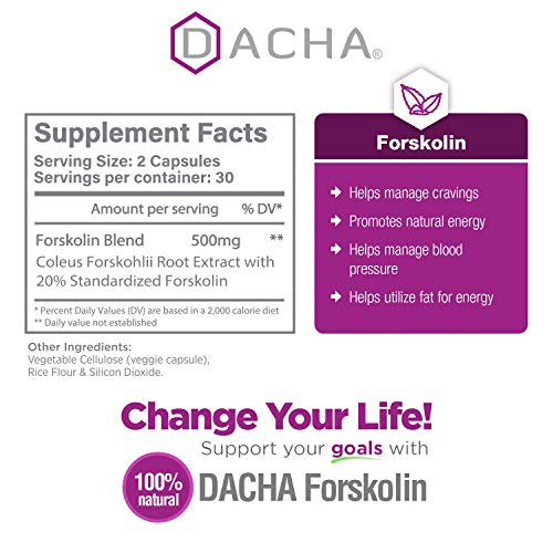 DACHA Forskolin Max Strength LivePure - 500mg Coleus Extract for Weight Loss, Keto Diet Pills That Work Fast for Women & Men, Maximum Slim Look, Lose Weight Fast for Women, Rapid Tone, Luna Trim, MD
