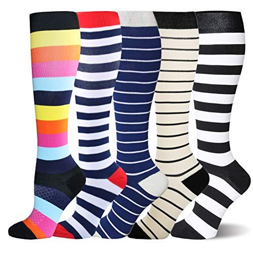 Kompressionsstrümpfe Sneaker Socken Herren Damen Laufsocken Sprunggelenkschutz und Mittelfußstütze für Laufen Radfahren Erholung Blutzirkulation, 5 Paar- Mehrfarbig Streifen, L-XL