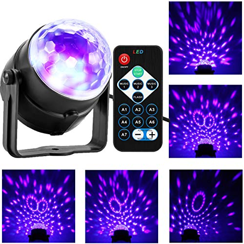Zwarte uv-licht, 3 W LED Crystal Magic Ball podiumlamp, discobal, met afstandsbediening, DJ-licht, podiumverlichting, voor festivals, bar, club, party, bruiloft, show start
