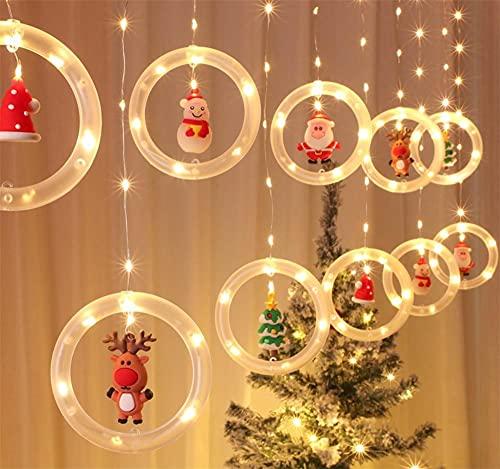 Cortina de Luces Navidad LED, Lypumso Cadena de Luces Navideñas con 5...