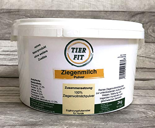 TierFit Ziegenmilch Pulver für Hundewelpen als Muttermilchersatz <> tragende Hündinnen <> geschwächte Senioren <> reines Ziegenvollmilchpulver <> 2 kg