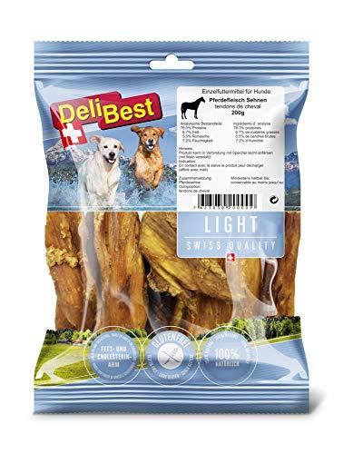 DeliBest Light Pferdesehnen I Dental Sticks I Hundesnacks getreidefrei I natürlicher Hunde Zahnsteinentferner I Kauartikel aus Pferdefleisch für Hunde I Hundezahnpflege Snack 200g