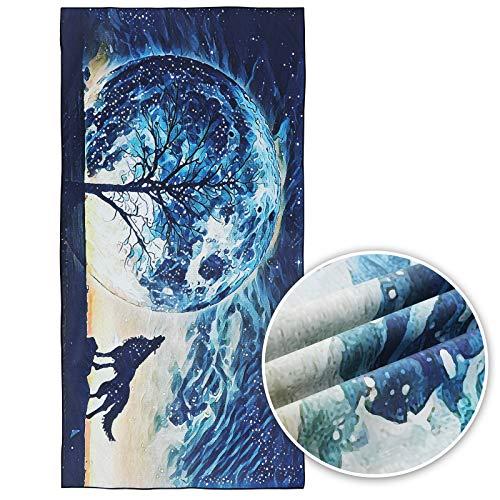 Starry Sky Wolf Toalla De Playa De Microfibra Toallas De Piscina De Secado Rápido 63