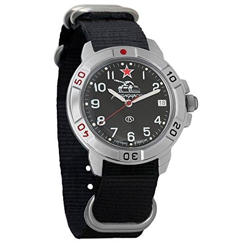 Vostok Komandirskie Russian Tank Forces Army Mechanical Mens Military Commander Wrist Watch #431306 (Black)