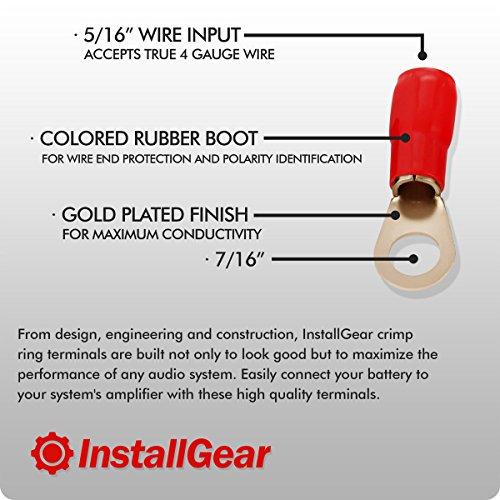 InstallGear 4 Gauge AWG Crimp Ring Terminals Connectors - 10-Pack (5 Positive, 5 Negative)