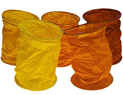 kadoh Papierlampions Set of 5 rot-orange (L) Deko Laterne Papierlampion Herbst Halloween