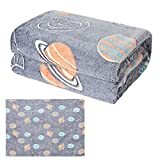 Space Planet Glow in The Dark Throw Blanket - Soft Flannel Blanket for Kids and Adults, Decorative Luminous Throw for Bed Sofa Couch Car, Birthday, 50x60 Inches, Grey