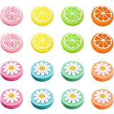 16 Pieces Replacement Cute Fruit Lemon and Flower Design Thumb Grip Caps Analog Stick Cover Joystick Cap Soft Silicone Cover Compatible with Nintendo Switch, Switch Lite and Joy-Con Controller