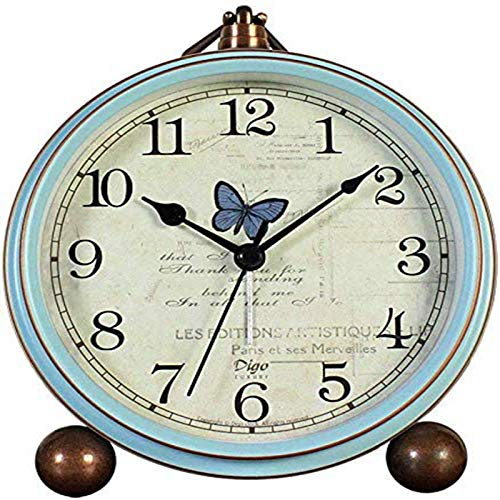 Table Clocks,5.2in Blue Non-Ticking Retro Old Fashioned Style Alarm Clock with Quartz Movement Battery Operated,HD Glass Lens for Kitchen Indoor Decor.