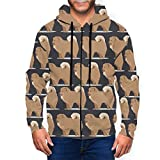 Newwo Chow Chow Dog Mens Full-Zip Jacket Hooded Sweatshirt with Pockets for Daily Wear Black