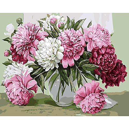 Flores rosadas DIY pintura por números Kits para colorear p